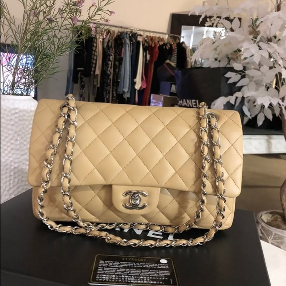 CHANEL Handbags - Authentic CHANEL Beige Silver Hardware Double Flap